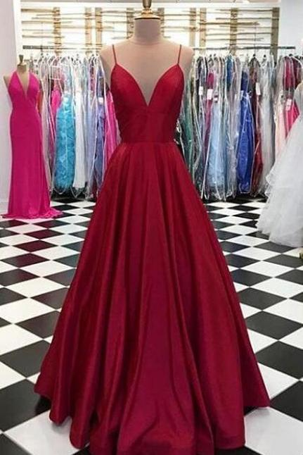 Simple Prom Dress,Cheap Prom Dress,Spaghetti Straps V-Neck Prom Dress,Burgundy Prom Dress,Satin Formal Dress