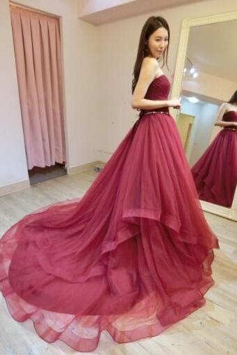 Strapless Prom Dress,Sexy Mermaid PromDress,Tulle Evening Dress, Sexy Long Prom Dress, Formal Prom Dresses