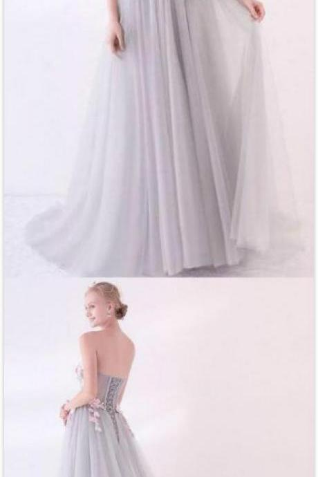 Grey Prom Dess,Long Applique Tulle Prom Dress,Sexy Evening Dresses ,Cheap Prom Dress,Sweetheart Formal Prom Dresses