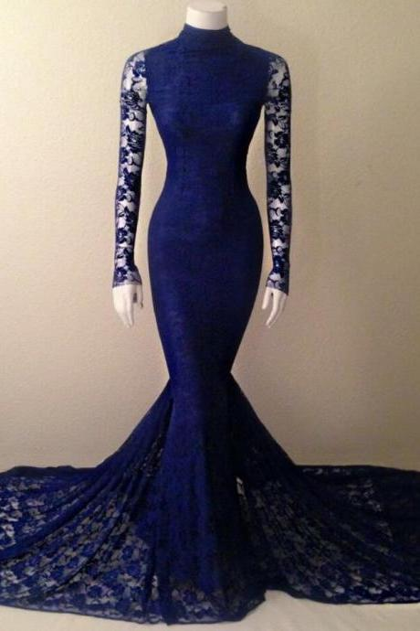 Navy Blue Prom Dress,Long Sleeve Prom Dress,Lace High Neck Prom Dress,Mermaid Evening Gown With Long Sleeves evening dress,lace prom dress,backless Evening Dresses,unique prom dresses,mini modest prom dresses,party dresses,bridesmaid dresses,evening gowns,sexy prom dress,hot pink prom dress,Charming Prom Dress