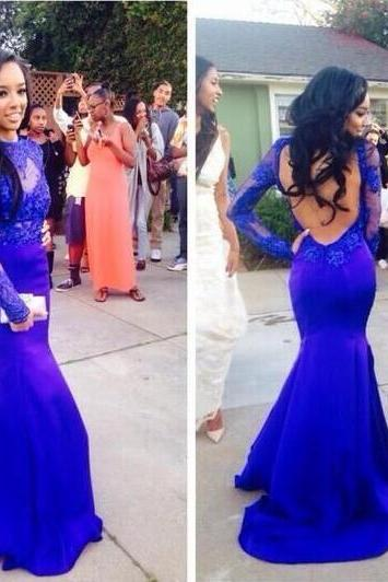 Long Sleeve Prom Dress , Pretty Blue Mermaid Prom Dress ,Cheap Prom Dress,lace Prom Dress,Appliques Prom Dress, Mermaid Prom Dress, Backless Prom Dress
