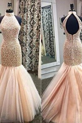 Beading Prom Dresses,Mermaid Prom Gown,Champagne Prom Dresses,Mermaid Prom Gowns,Tulle Prom Dresses,Backless Evening Gonw With Beading For Teens