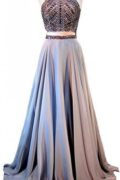 Beaded Open Back Prom Dress,CHiffon Prom Dress,Cheap Prom Dress,Long Party Dress,Two Pieces Long Prom Dress