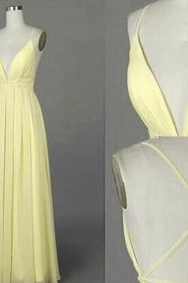 Beautiful Light Yellow Prom Dress,Simple Prom Dress,V Neck Prom Dress,Cross Back Long Chiffon Prom Dresses, Sexy Party Dresses, Evening Dresses