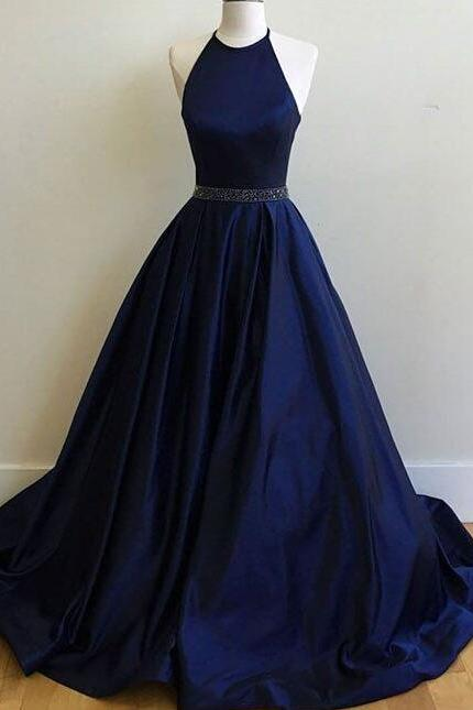 Sexy Prom Dress, Charming Prom Dress,Sexy Prom Dress,Simple Halter Prom dress, Navy Blue Prom Dress, Ball Gowns