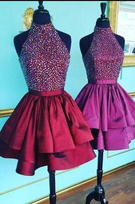 High Neck Short Prom Dress, Beading Homecoming Dress,Sexy Homecoming Dress,2018 Prom Dress,Homecoming Dresses