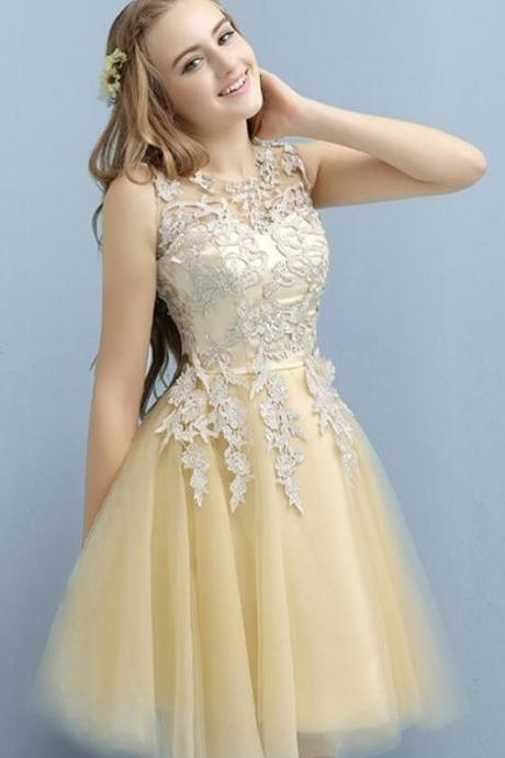 Applique Lace Prom Dress,Short Cocktail Dresses for Juniors, Tulle Homecoming Dress,Short Prom Dress,Lace Homecoming Dresses, Cute Prom Party Dress
