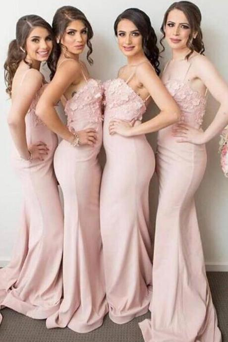 Long Prom Dress ,Pink Bridesmaid Dresses,Lace Bridesmaid Dress,2018 Bridesmaid Dresses,Cheap Bridesmaid Dress