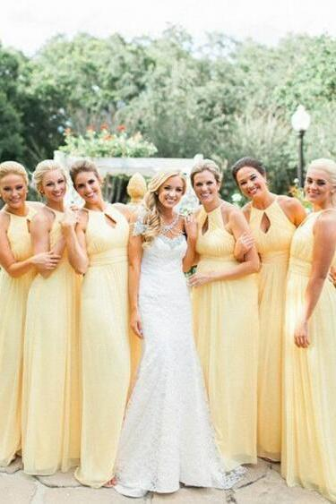Floor-Length Keyhole Yellow Bridesmaid Dress,A-Line Halter Bridesmaid Dress,Chiffon Sleeveless Bridesmaid Dress