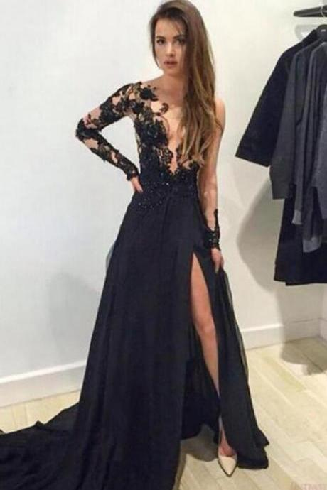 Sexy Long Sleeve Prom Dress,One Shoulder Prom Dress,Black Lace Prom Dress,Split Prom Dresses ,Sexy Evening Dresses