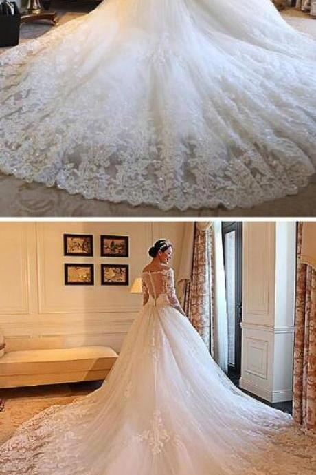 Gorgeous Tulle Wedding Dress,Off-the-shoulder Neckline Wedding Dress,Cheap Wedding Dress,Ball Gown Wedding Dresses With Beaded Lace Appliques