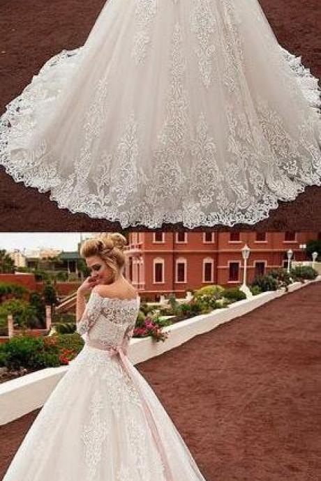 Off-the-shoulder Lace Wedding Dress,Gorgeous Tulle Wedding Dress, A-line Wedding Dress ,Cheap Wedding Dress With Lace Appliques & Belt & Detachable Jacket