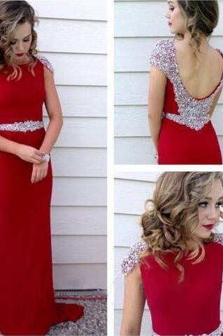 Long chiffon prom dress, cheap prom dress, sexy beading prom dress, red prom dress, party prom dress, sheath prom dress