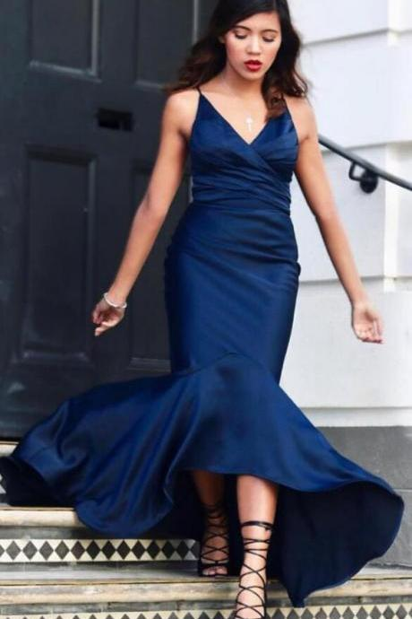 V neck Prom Dress,Stain prom Dress,Long Party Gowns,Satin High Low Mermaid Prom Dresses, Evening Gowns,Elegant Prom Dresses,Prom Dresses,formal gowns