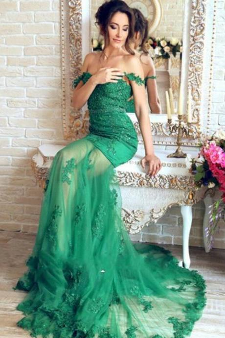 Lace Mermaid Evening Dresses, Tulle Prom Dress,Cheap Prom Dress,Beautiful Emerald Green Prom Dress,Robe De Soiree Prom Dresses,Longue Appliques Evening Dresses,Transparent Sexy prom Dress
