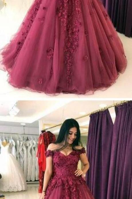 A Line Prom Dress,Sexy Prom Dress,Lace Appliques Prom Dresses, Cheap Prom Dress,Ball Gowns,Tulle Quinceanera Dress Prom Dress