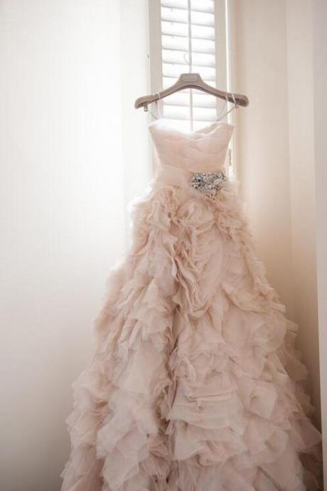 Long Wedding Dress,Sexy Wedding Dres,Ruffle Wedding Dress,Blush Wedding Dress, Featuring Spaghetti Straps Ruched Sweetheart Bodice