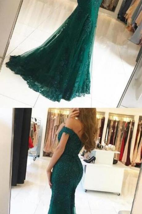 dark green Prom Dress,Mermaid Prom Dress,Sexy Prom Dress, lace prom dresses,off the shoulder evening gowns,emerald green prom dress,mermaid prom dresses
