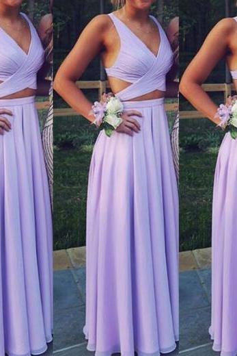 Two Piece Chiffon Prom Dresses,Beautiful Lavender Prom Dress,Sexy Prom Dress, Long Two Piece Party Dresses, Simple Evening Dresses