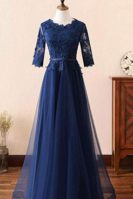 Navy Blue Prom Dress,Lace Prom Dress,Cheap Tulle Prom Dress,Hot Selling Prom Dress,Long Prom Dresses with Half Long Sleeves Prom Dress,Mother of the Bride Dress