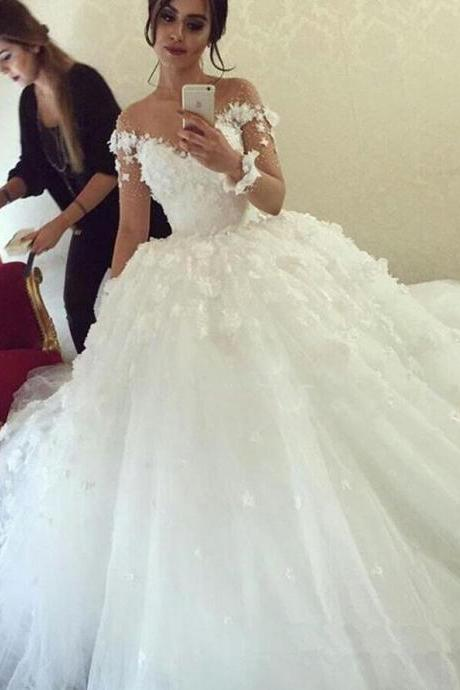 Long Sleeves Wedding Dresses, Ball Gown Wedding Dress ,White Wedding Dresses with Flowers,Cheap Wedding Dress,Princess Wedding Dresses,Beautiful Wedding Dresses,Wedding Dress