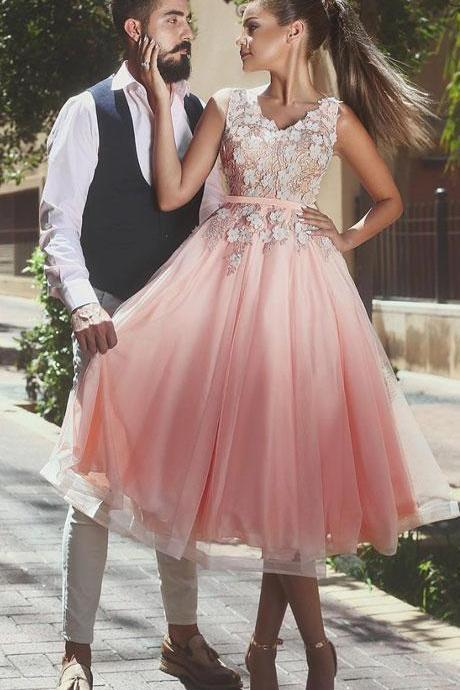 Short Pink Prom Dress,sexy homecoming Dress,Cheap Prom Dress,Short Homecoming Dress,v neck applique tulle prom dress, pink evening dress