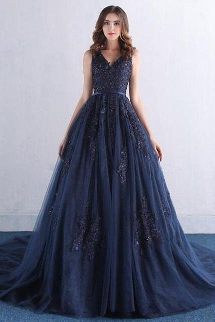Amazing dark blue Prom Dress,Sexy Prom Dess,Mermaid Prom Dress,v neck lace tulle long prom dress, lace evening dress