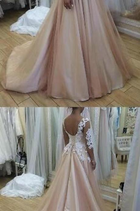 Long Sleeve Evening Dress, Stain Prom Dress,Charming Appliques Evening Dress, Sexy Prom Dress,lace Formal Prom Dress