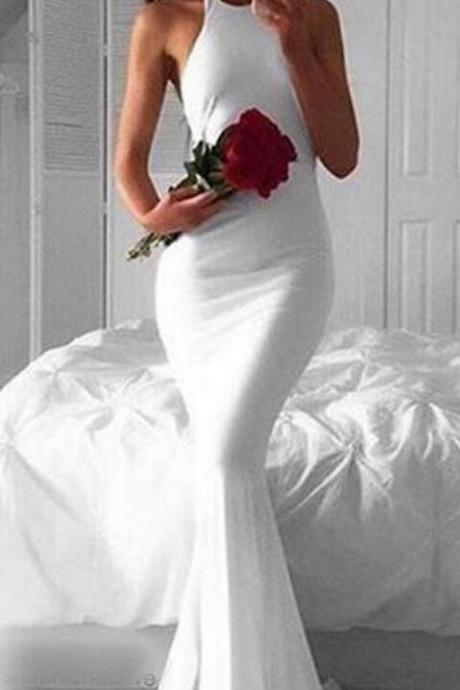 Simple Halter Prom Dress, Sleeveless White Prom Dress,SImple Prom Dress,Mermaid Prom Dress,Cheap Prom Dress,Evening Gowns for Teens