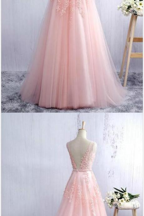 Pink Scoop Neck Prom Dress,Custom Made Prom Dress,Cheap Prom Dress,Tulle Evening Dress, V - Open Back A Line Formal Gown With Lace Appliques, Prom Dresses, Bridesmaid Dresses