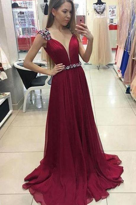 Unique Prom Dress,Beading Prom Dress,A-Line V-Neck Prom Dress,Sexy Prom Dress,Cap Sleeves Prom Dress,Burgundy Long Prom/Evening Dress With Beading