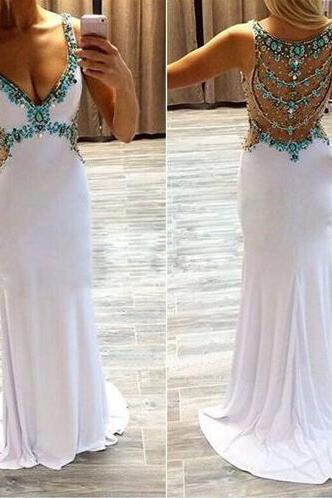 white prom dress, cheap prom dress,Chiffon Prom Dress,sexy prom dress, unique prom dress, available prom dress, modest prom dress