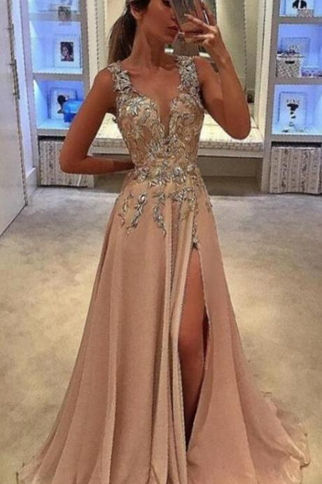A-Line Prom Dress,Stain prom Dress,Deep V-Neck Sweep Train Prom Dress, Champagne Prom Dress, Chiffon Prom Dress with Appliques