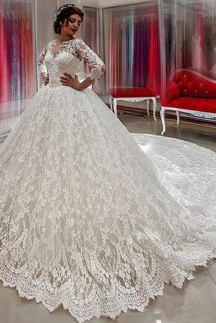 Sexy Mermaid Lace Wedding Dress,Beauty Wedding Dress,Ball Gown Wedding Dresses 2018 ,Vestido De Novia Long Sleeves Bridal Gowns