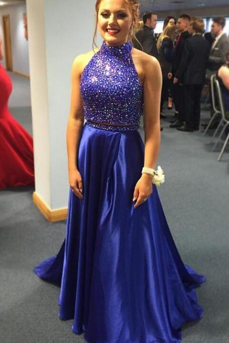 Two Piece Prom Dress,Sexy Prom Dress,Royal Blue Prom Dresses,Long Prom Dresses,Satin Prom Dresses, Long Prom Party Gown, Senior Prom Dress