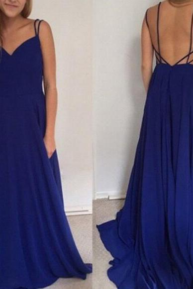 Simple Backless Prom Dress,Royal Blue Long Prom Dress, Cheap Prom Dress,Backless Evening Dress, Chiffon Prom Dress, Sweetheart Prom Dress, A-line Prom Gown, Prom Formal Dresses