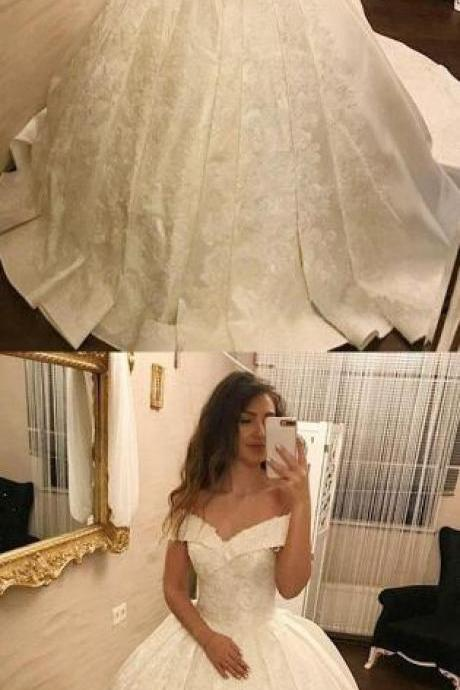 Ball Gown Wedding Dress,Stain Wedding Dress,Off-The-Shoulder White Long Prom/Wedding Dress