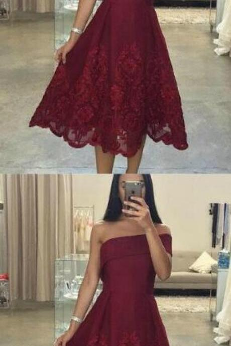 Asymmetric Neck Prom Dress, Lace Prom Dress,Sexy Prom Dress,Short Prom Dress, One Shoulder Prom Dress, Knee Length Prom Gown, Short Evening Dress, Short Formal Dress