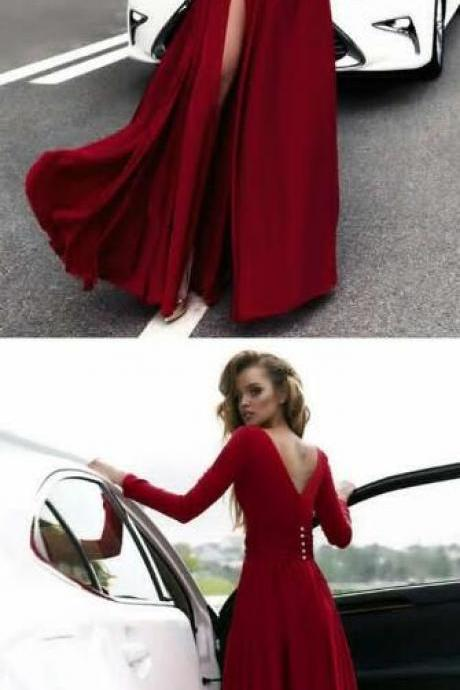 Sexy long sleeves prom dress,Deep V Neck Prom Dresses ,Leg Split Evening Gowns burgundy prom dress,chiffon prom dress,long sleeves evening gowns,wine red formal dress burgundy prom dress