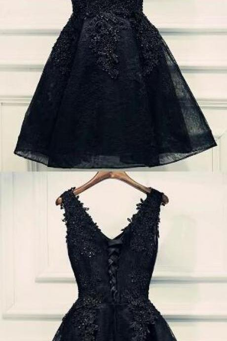 Short Lace Homecoming Dress,black lace prom dress, Sexy Homecoming Dress,V Neck prom dress for teens