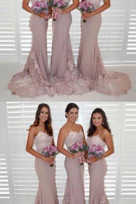 Light Dusty Pink Prom Dresses with Lace, Cheap Bridesmaid Dresses,Mermaid Bridesmaid Dresses , Sexy Prom Dress