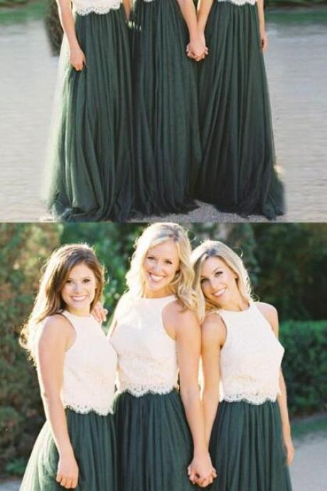 Round Neck Bridesmaid Dresses, Lace Bridesmaid Dress,Cheap Bridesmaid Dress,Dark Green Bridesmaid Dresses with white Lace