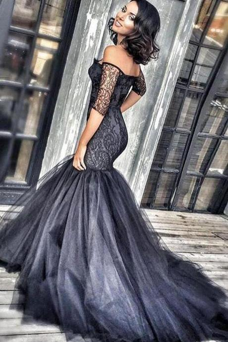 Black prom dress, Sexy Prom Dress,Tulle Prom Dress,mermaid lace long evening dresses,black lace off shoulder formal dress,fashion dress for girls