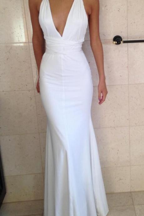 Sexy Prom Dresses,Halter Evening Dress,Simple Prom Dress,Long Party Dresses,Fitted White Deep V Neck Mermaid Prom Dress, Formal Gown, Evening Dress