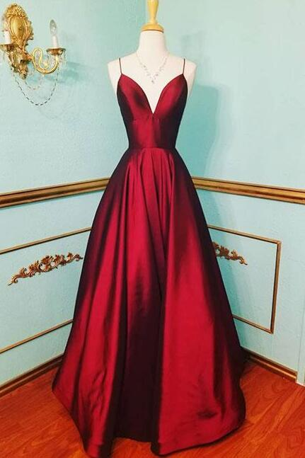 Sexy burgundy prom dress,cheap prom dress,simple prom dress,v-neck satin long prom dress,burgundy evening dress
