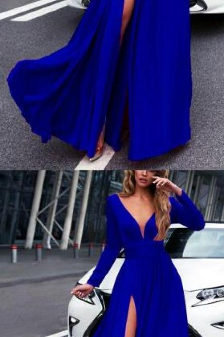 Royal Blue Prom Dress,Sexy Prom Dress,Long Sleeves Prom Dresses,Cheap Prom Dress,2018 Leg Split Evening Gowns
