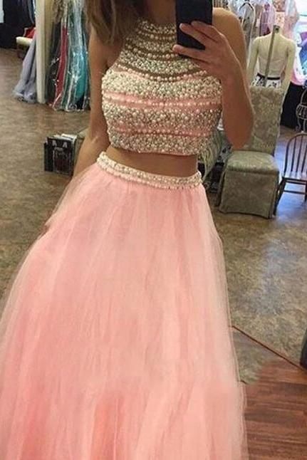 sexy beading prom dress,cheap prom dress,pink two pieces tulle prom dress,long prom dresses, pink evening dress