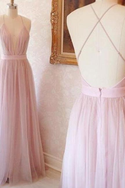 Simple Prom Dress,Cheap Prom Dress,pink v neck Prom Dress, tulle long prom dress, evening dress