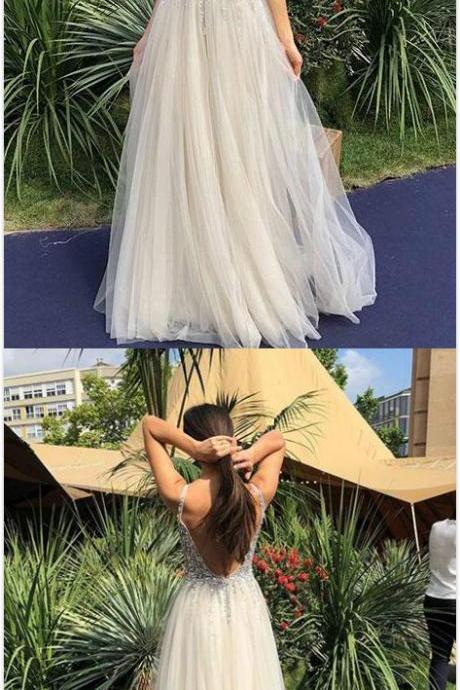 Sexy V-Neck Prom Dress,Tulle Prom Dress,Long Prom Dress,A Line Beaded Sequins Prom Dress,Long A-Line Tulle Evening Dress