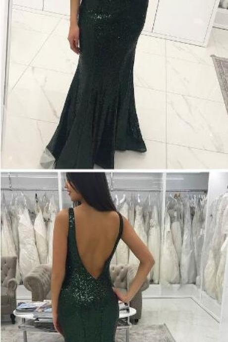 Sexy Prom Dress,Long Green Prom Dress,Mermaid Prom Dress,Lace Prom Dresses ,Sequins Backelss Formal Evening Dress